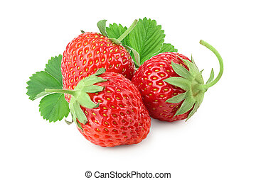 Strawberry with leaves isolated on white background close up.