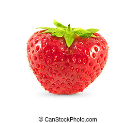 Strawberry with leaves. Isolated on white.