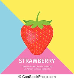Strawberry flat icon with place for text. Vector illustration. Sweet ret berry on colorful background with space for typography. Poster template for your design.