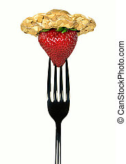 strawberry with straw hat on fork