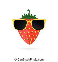 strawberry with sunglasses cartoon illustration in colorful