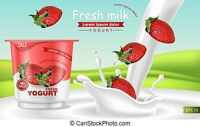 Strawberry yogurt Vector realistic. Product placement mock up. Fresh yogurt splash with fruits. Label design. 3d detailed illustrations