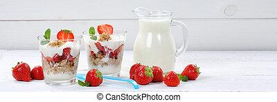 Strawberry yogurt yoghurt strawberries fruits banner breakfast