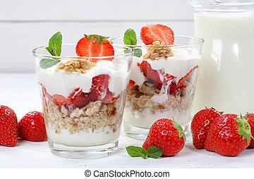 Strawberry yogurt yoghurt strawberries fruits breakfast