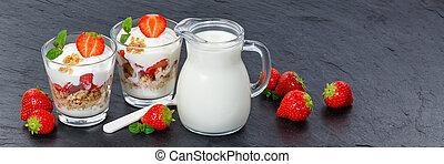 Strawberry yogurt yoghurt strawberries fruits cup muesli banner slate spoon breakfast