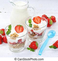Strawberry yogurt yoghurt strawberries fruits cup muesli square spoon breakfast
