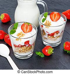 Strawberry yogurt yoghurt strawberries fruits glass square muesli slate spoon breakfast