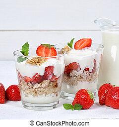 Strawberry yogurt yoghurt strawberries fruits square breakfast