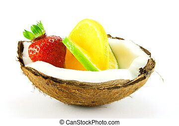 Strawberry,Lemon and Lime in a Coconut