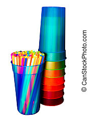 Straws and Cups Isolated