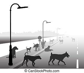 Stray dog street - Editable vector illustration of a motley ...