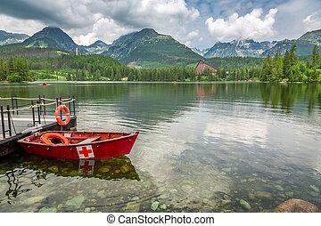 Strbske Pleso lake and small boat in Slovakia