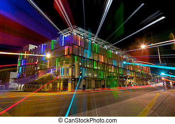 Colorful Lit Parking Garage at Night - Streaked Light From a...