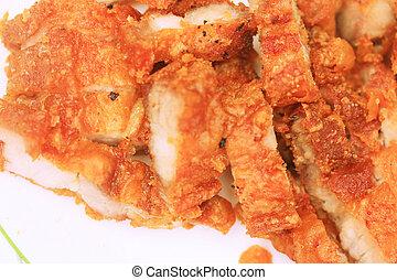 Streaky pork fried