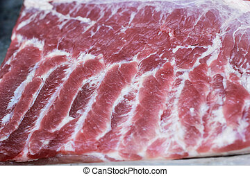 Streaky pork textured - in the market