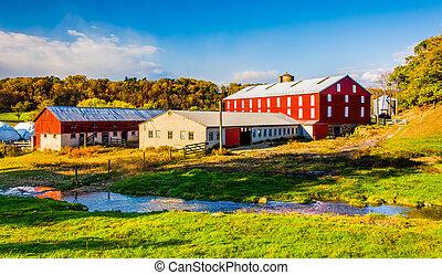 Stream and barn in rural York County, Pennsylvania. - Stream...
