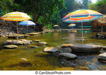 Stream and rest area on dry season