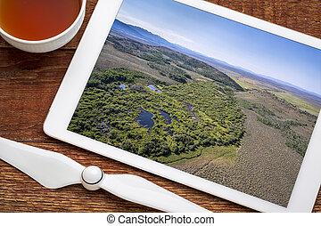 stream at North Park, Colorado - aerial view - reviewing ...