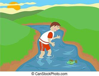 Stream - Boy playing in a stream.