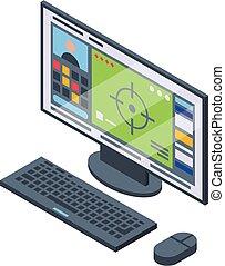 Stream desktop pc icon, isometric style - Stream desktop pc ...