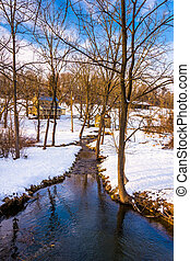 Stream during the winter, in rural Carroll County, Maryland.
