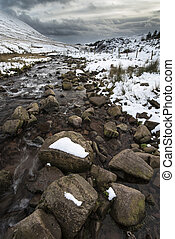 Stream flowing through snow covered Winter landscape in mountain