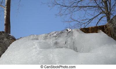 stream ice blue sky