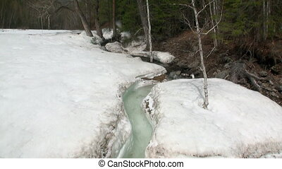 Stream in spring Siberia of Russia. Power of water of...