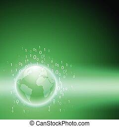 Stream of binary code to the globe. Green background.