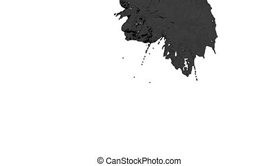 stream of black paint or oil falling on white background - screen and dripping down over white. 3d render with alpha mask for background, transition or overlays. Version 3
