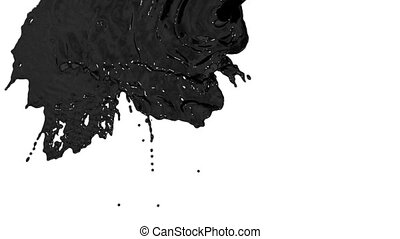 stream of black paint or oil falling on white background - screen and dripping down over white. 3d render with alpha mask for background, transition or overlays. Version 1