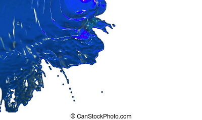 stream of blue liquid like juice falling on white background - screen and dripping down over white. 3d render with alpha mask for background, transition or overlays. Version 7