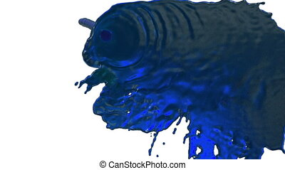 stream of blue liquid like juice falling on white background - screen and dripping down over white. 3d render with alpha mask for background, transition or overlays. Version 5