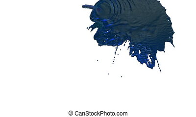 stream of blue liquid like juice falling on white background - screen and dripping down over white. 3d render with alpha mask for background, transition or overlays. Version 4