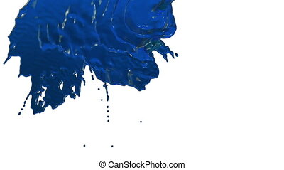 stream of blue liquid like juice falling on white background - screen and dripping down over white. 3d render with alpha mask for background, transition or overlays. Version 1