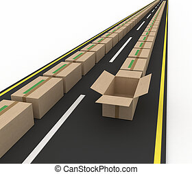 Stream of cardboard boxes on road