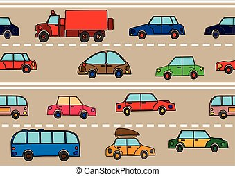 Stream of cars on the road.