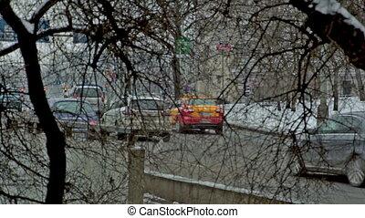 stream of cars. Prague