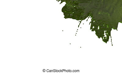 stream of green liquid like juice falling on white background - screen and dripping down over white. 3d render with alpha mask for background, transition or overlays. Version 1