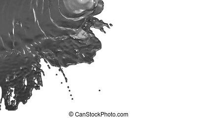 stream of grey liquid like juice falling on white background...