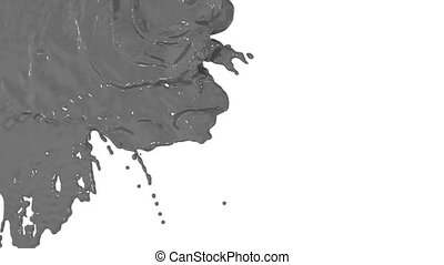 stream of grey paint falling on white background - screen and dripping down over white. 3d render with alpha mask for background, transition or overlays. Version 8