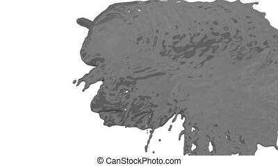 stream of grey paint falling on white background - screen and dripping down over white. 3d render with alpha mask for background, transition or overlays. Version 6