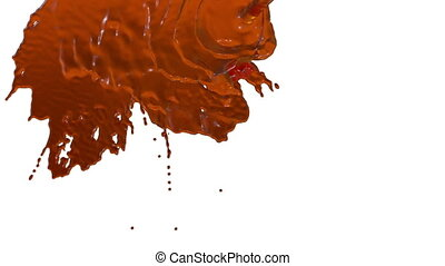 stream of orange liquid like juice falling on white background - screen and dripping down over white. 3d render with alpha mask for background, transition or overlays. Version 8