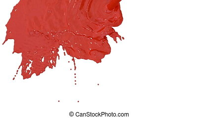 stream of red paint falling on white background - screen and dripping down over white. 3d render with alpha mask for background, transition or overlays. Version 8
