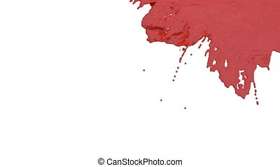 stream of red paint falling on white background - screen and dripping down over white. 3d render with alpha mask for background, transition or overlays. Version 1