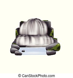 Stream of river waterfall with mountain rocks vector illustration isolated.