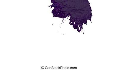 stream of violet liquid like juice falling on white...
