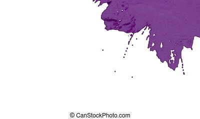 stream of violet paint falling on white background - screen...
