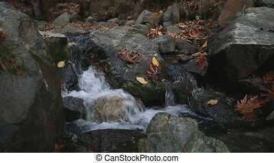 Stream of water falling among stones strewn with autumn leaves