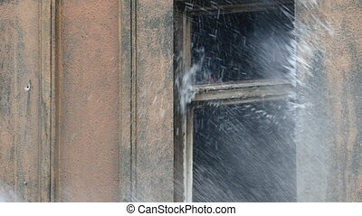 Stream of water from a fireman's hose